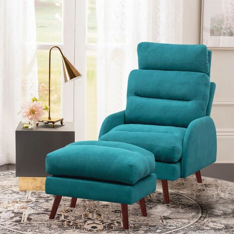 """main image of """"Frosted Velvet Recliner Chair with Footstool"""""""