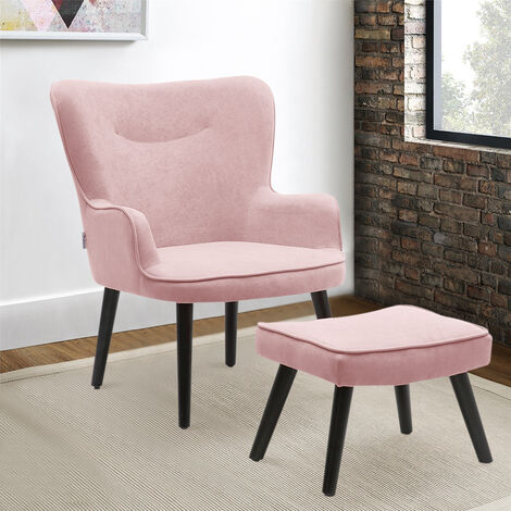 Frosted Velvet Smiley Lounge Armchair and Footstool
