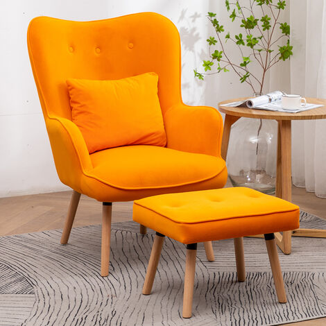Frosted Velvet Wingback Lounge Armchair and Footstool, Orange