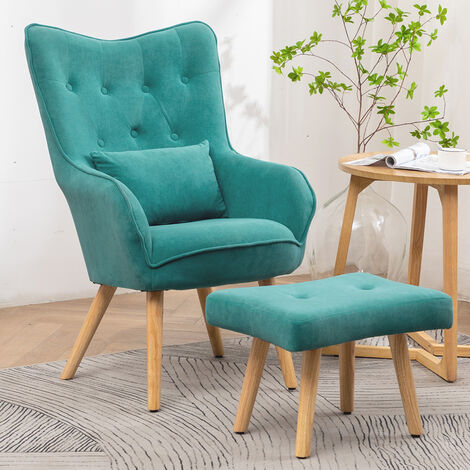 Frosted Velvet Wingback Lounge Chair and Footstool