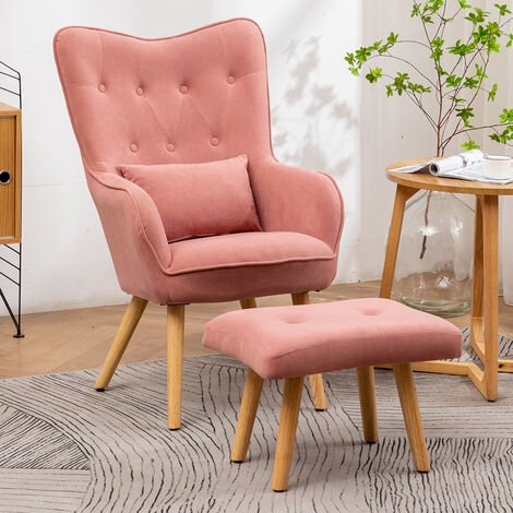 """main image of """"Frosted Velvet Wingback Lounge Chair and Footstool"""""""