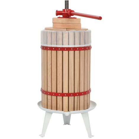 Fruit and Wine Press with Cloth Bag 24 L Oak Wood