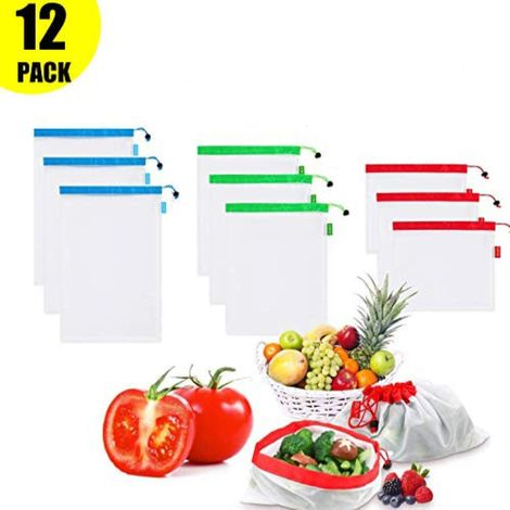 Fruit Bags Reusable, Reusable Bags for Fruit and Vegetables, Reusable and Recyclable, 12 Pieces (4 Small, 4 Medium, 4 Large)