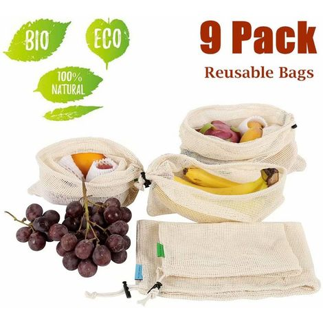 Fruit Bags Reusable, Reusable Bags for Fruit and Vegetables, Reusable and Recyclable, Made of Cotton Fabric & Cotton Core Rope, 9 Pieces (3 Small, 3 Medium, 3 Large)