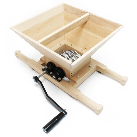 Fruit mill wood Masher Fruit crusher Berry mill with hand crank 7 l