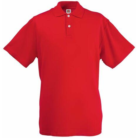 Fruit of the Loom 5 pcs Polo shirts pour homme Original Rouge M