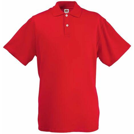 Fruit of the Loom 5 pcs Polo shirts pour homme Original Rouge S