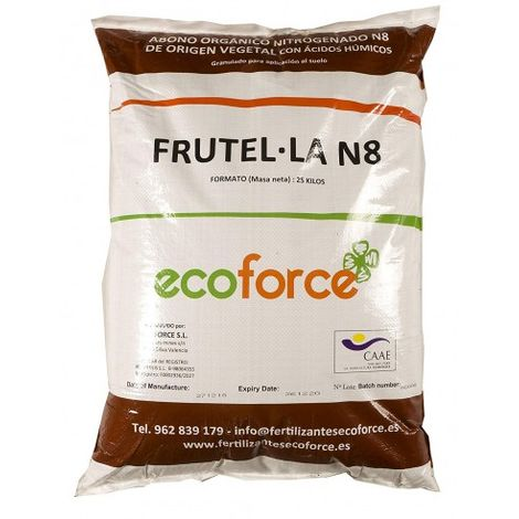 Frutella N8 de 25 kg. Abono para Plantas ecológico granulado de Alta disolución.Especial para cesped Primavera-Verano
