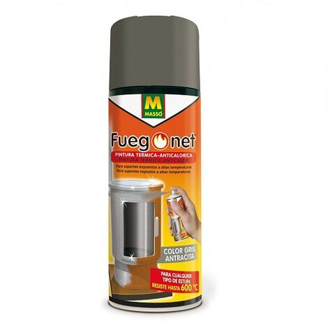 FUEGONET Pintura Térmica Gris Antracita. Pintura Anticalórica para Estufas. Bote de pintura resistente al calor (600ºC) 400 ml