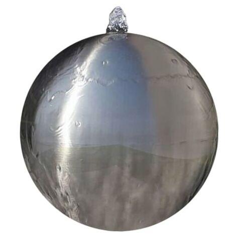 Fuente cascada esfera con LEDs de jardín acero inoxidable 40 cm