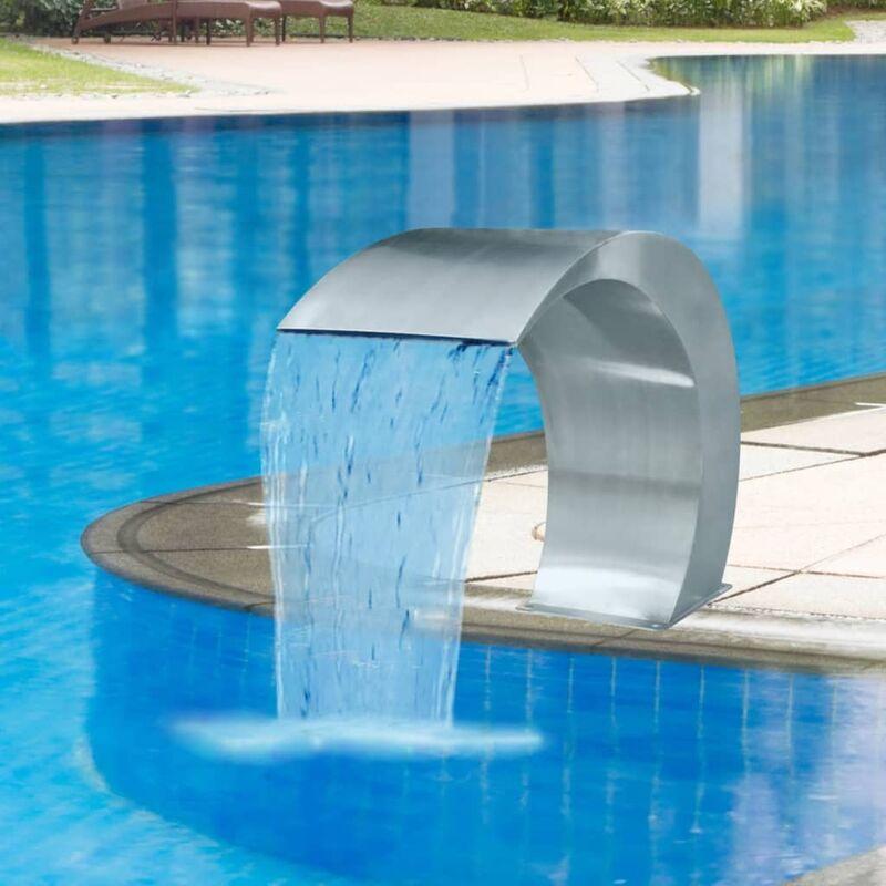 Youthup - Fuente cascada para piscina de acero inoxidable 45x30x60 cm