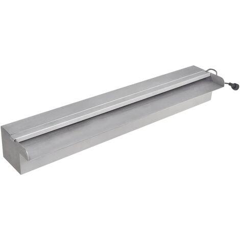 Fuente cascada rectangular LED para piscina acero inoxidable 60 cm