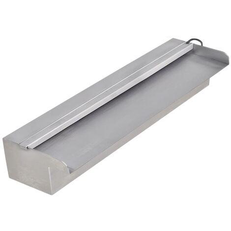 Fuente cascada rectangular LED piscina acero inoxidable 45 cm