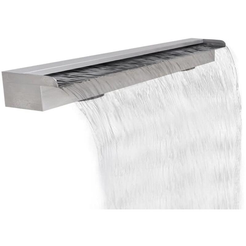 Youthup - Fuente cascada rectangular piscina acero inoxidable 120 cm