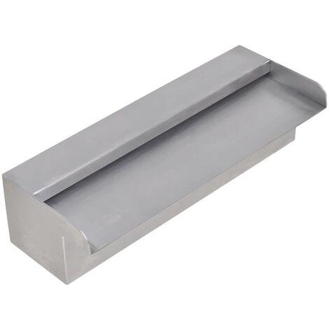 Fuente cascada rectangular piscina acero inoxidable 30 cm