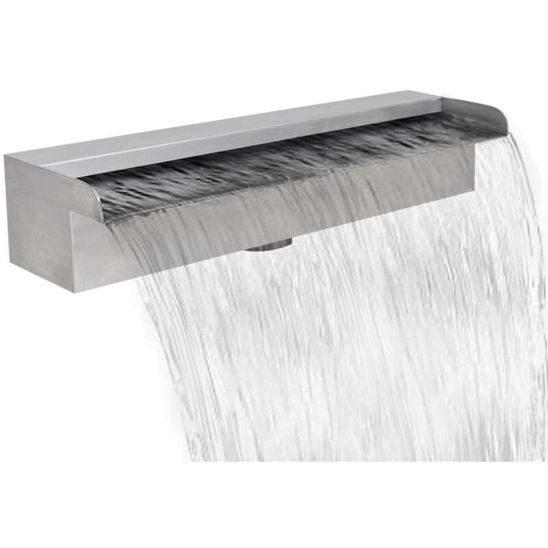 Youthup - Fuente cascada rectangular piscina acero inoxidable 45 cm