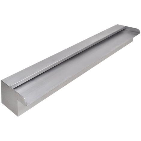 Fuente cascada rectangular piscina acero inoxidable 90 cm