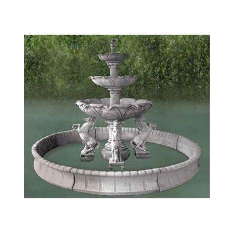 Fuente central clásica de hormigón Mod. Caballos 300x242cm.