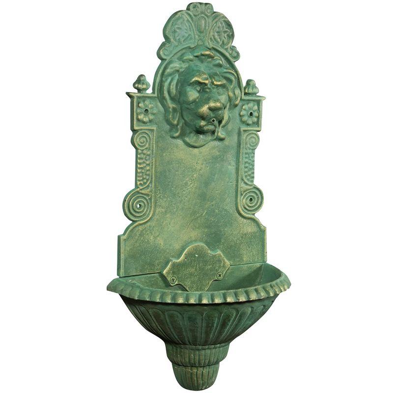 Fuente de hierro fundido, acabado en verde envejecido cm: 40 x 22 x 79