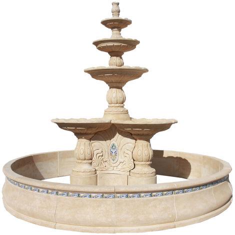 Fuente de Jardín de hormigón-piedra Extra gran Eridan 400x350cm. Natural ocre