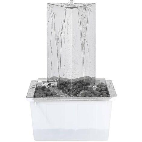 Fuente de jardin triangular con bomba acero inoxidable 76 cm