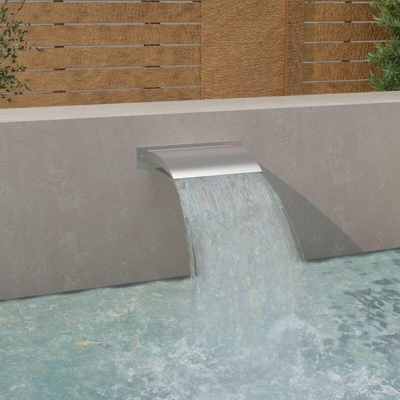 Fuente de piscina acero inoxidable plateada 45x9x26 cm - Plateado