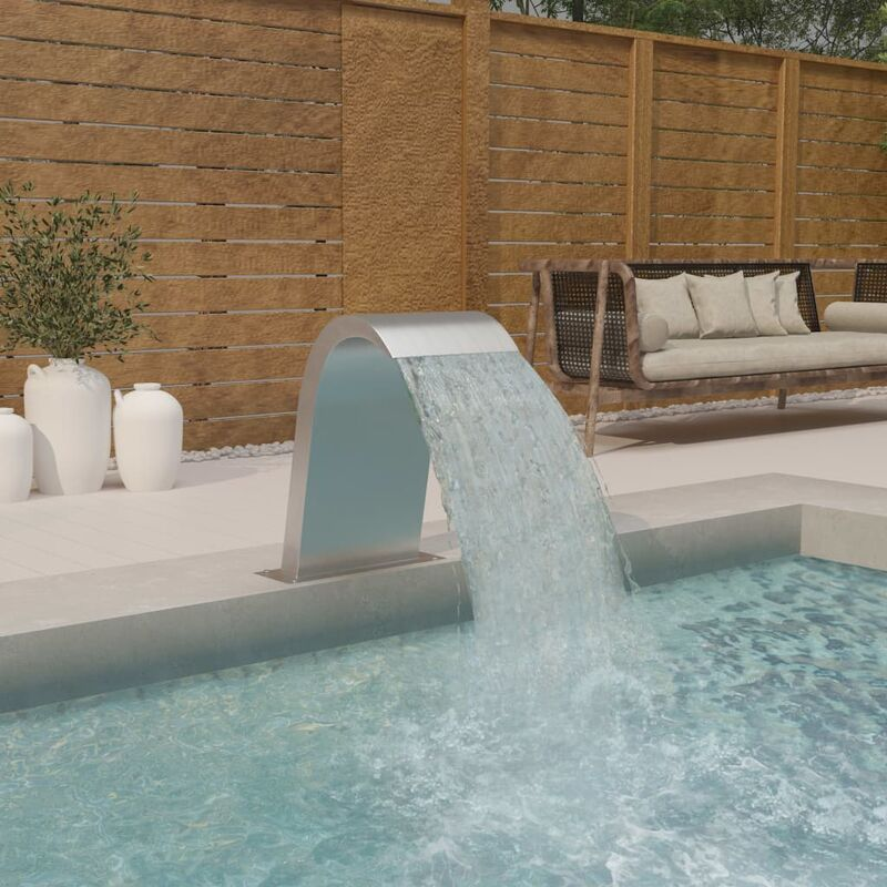 Youthup - Fuente de piscina de acero inoxidable 304 50x30x60 cm - Plateado