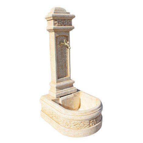 FUENTE hormigón aligerado Pilón 122 x 53 x 62 cm. - Fabricada en hormigón aligerado natural - Color Ocre