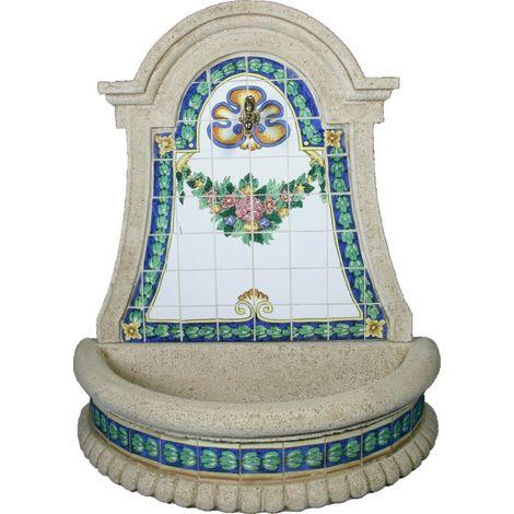 Fuente pared Azucena hormigón-piedra y azulejos pintados a mano pintados a manoexterior jardín 110x50x117cm.