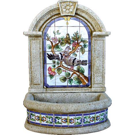 Fuente pared Gerbera Palomas hormigón-piedra y azulejos pintados a mano pintados a manoexterior jardín 70x45x100cm.