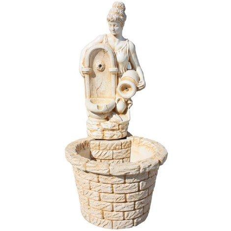 FUENTE PIEDRA 110 cm de altura - Fabricada en piedra natural - Color Ocre