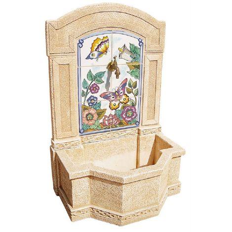 FUENTE PIEDRA PARED CERAMICA 109 x 71 x 45 cm. - Fabricada en piedra natural - Color Ocre