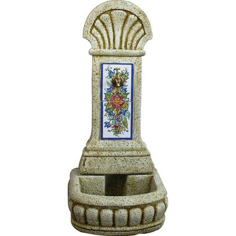 Fuente Pilón de pared de hormigón-piedra y azulejos pintados a mano exterior jardín 44x36x98cm.