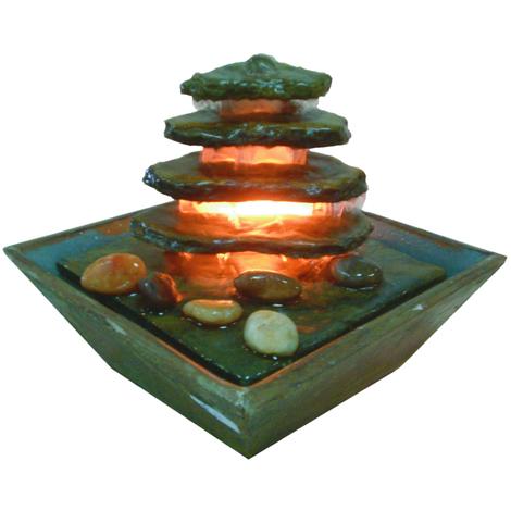Fuente sobremesa piedra natural Piramid - Jardin y Natura