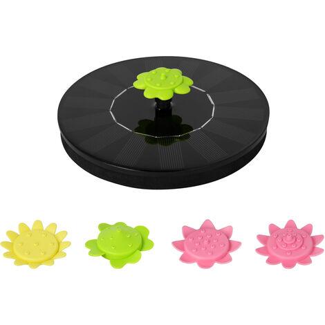 Fuente solar 5V 3W con 5 Tipo de flor Boquillas Boquillas 4 Negro con energia solar flotante del bano del pajaro con patas Fuentes fuente al aire libre Bomba de agua sin cepillo para Piscina estanque de jardin Patio, Negro, 160C