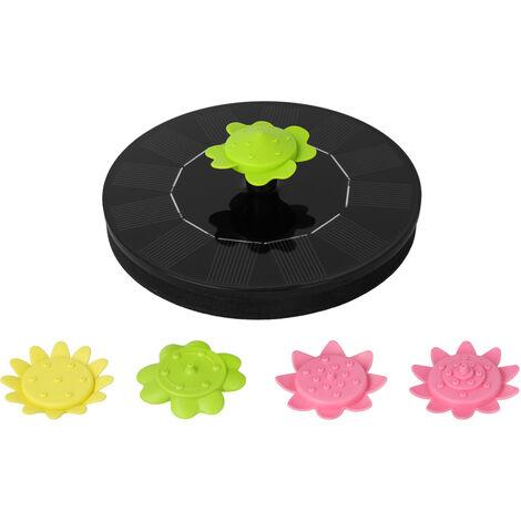 Fuente solar de 6V 1W, con 5 boquillas tipo flor Fuentes flotantes para bano de pajaros con energia solar