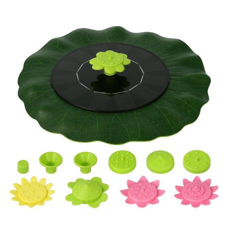 Fuente solar de 6V 1W Fuentes flotantes con forma de hoja de loto, con boquillas tipo flor