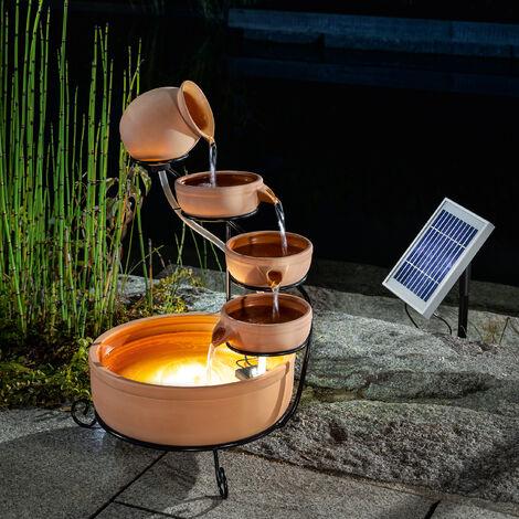 Fuente solar en cascada con batería+fuente solar LED de jardín esotec 101304