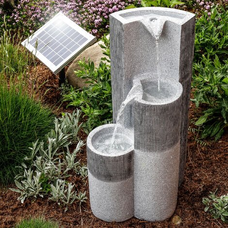 Fuente solar luminosa en cascada para jardín con batería 101315