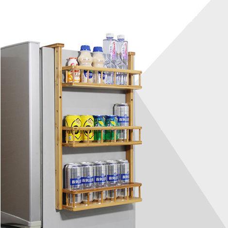 für Kühlschrank hängendes Regal Bambus Küchenregal Gewürzregal Badezimmerregal Nischenregal