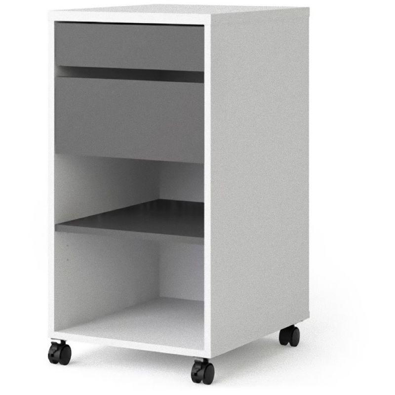 Fula Kommode Rollcontainer 2 Schubladen und 1 Ablage, weiss und grau. 07-7048149cn - PKLINE