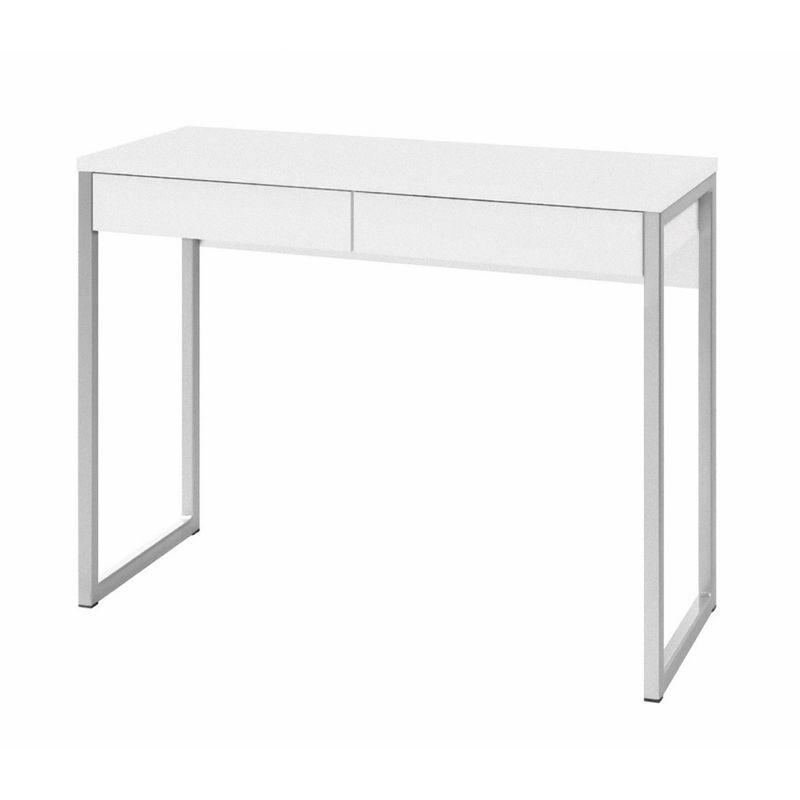 Schreibtisch Gramp 1 Schublade weiss Hochglanz Tisch Bürotisch PC Computertisch
