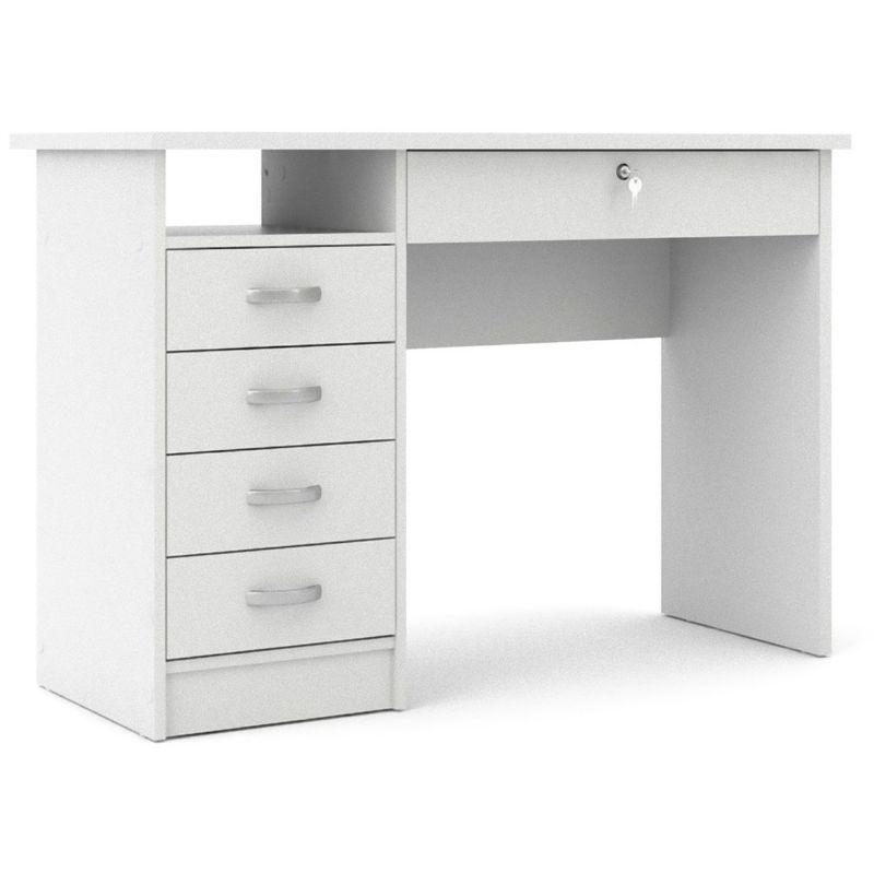 Fula Schreibtisch 5 Schubladen weiss. 07-801634949