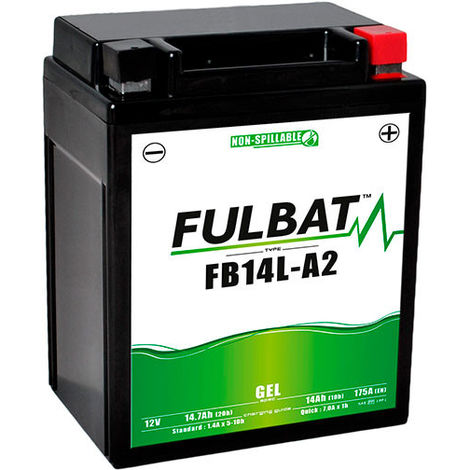 Fulbat - Batería moto Gel YB14L-A2 / FB14L-A2 / 12N14-3A 12V 14Ah