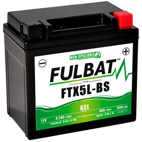 Fulbat - Batería moto Gel YT5L-BS / YTX5L-BS / FTX5L-BS 12V 4Ah