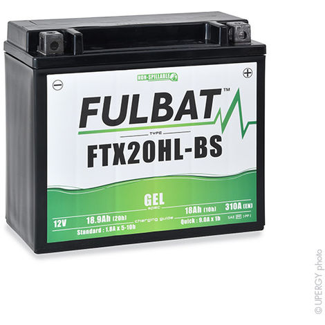 Fulbat - Batería moto Gel YTX20HL-BS / FTX20HL-BS 12V 18.9Ah