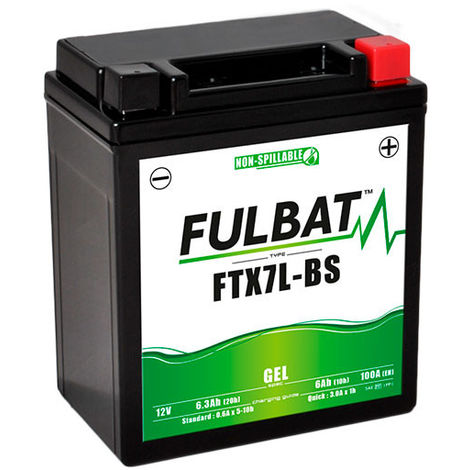 Fulbat - Batería moto Gel YTX7L-BS / FTX7L-BS 12V 6Ah