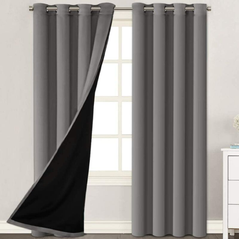 Full Blackout Grommet Lined Curtains and Draperies 100% Blackout Drapes with Black Liner Backing for Bedroom/ Living Room Thermal Insulated Curtain