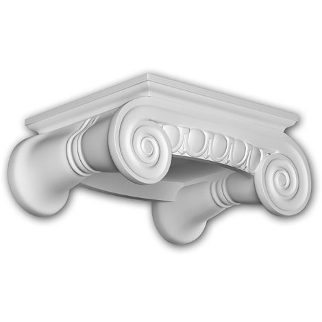 Full column capital Profhome 411202 Exterior trim Column Facade element Ionic style white