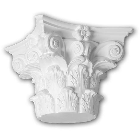 Full column capital Profhome 411301 Exterior trim Column Facade element Corinthian style white